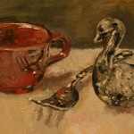 Glass Swan and Red Cup